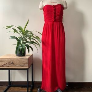Vintage 80's red strapless chiffon gown